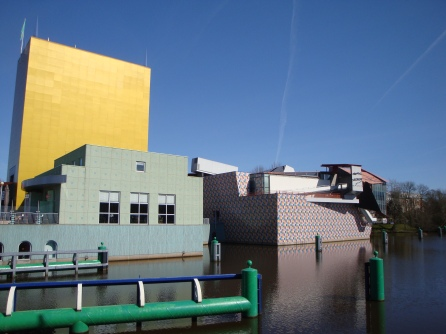 Right side of the Groninger Museum on 1 April, 12.06 PM. To the far right is the room housing the David Bowie show. Photo Marjan Groot.