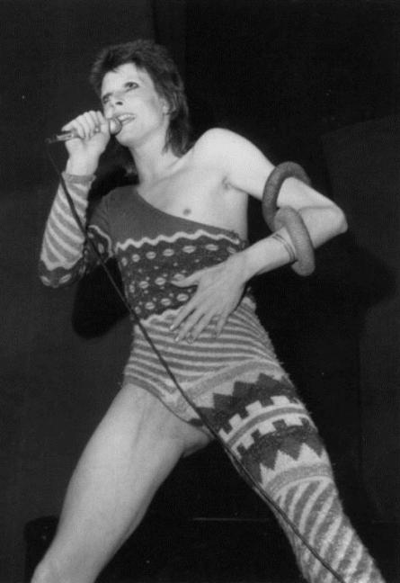 Fig. 4: Kansai Yamamoto (Tokyo), Knitted jumpsuit worn by David Bowie in concert, London, 1973. The colourful jumpsuit was one of the many items displayed at the exhibition in Groningen.