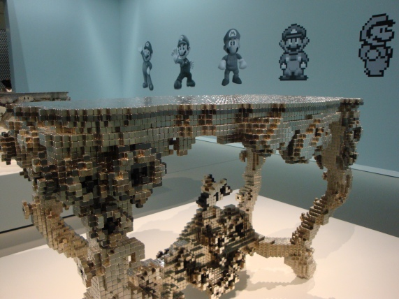 One of Joris Laarman's rococo tables, designed as 3d 'voxels', as exhibited at the Groninger Museum. Photo Marjan Groot.