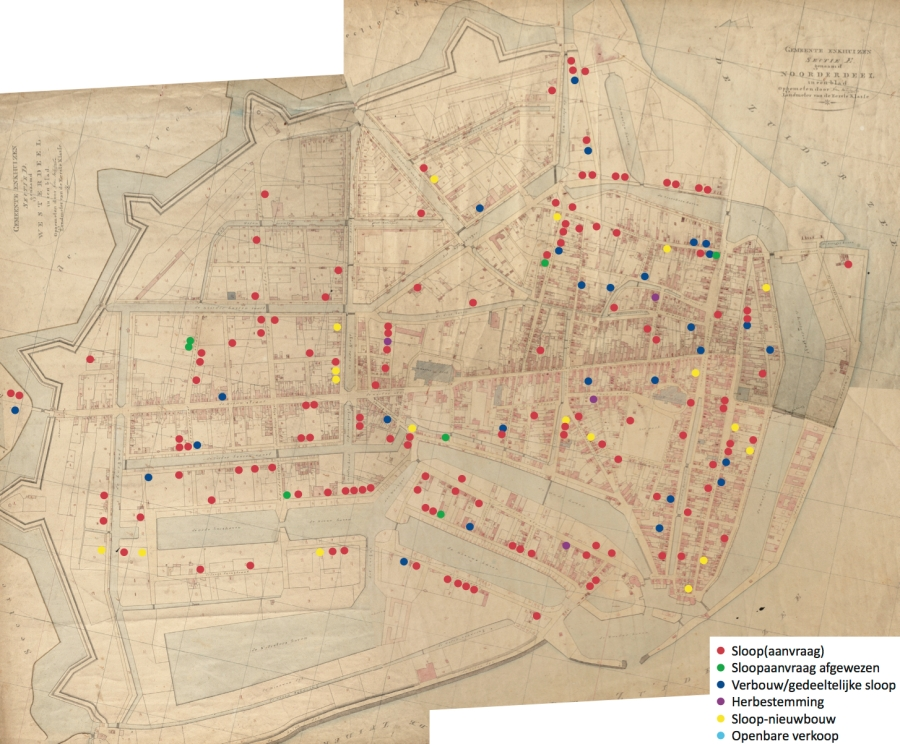 Rebuilding and demolition requests in Enkhuizen (1795-1813), marked on the cadastral map of 1823
