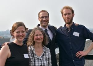 the organizing team: Erin la Cour, Katja Kwastek, Diederik Oostdijk, Nicholas Burman