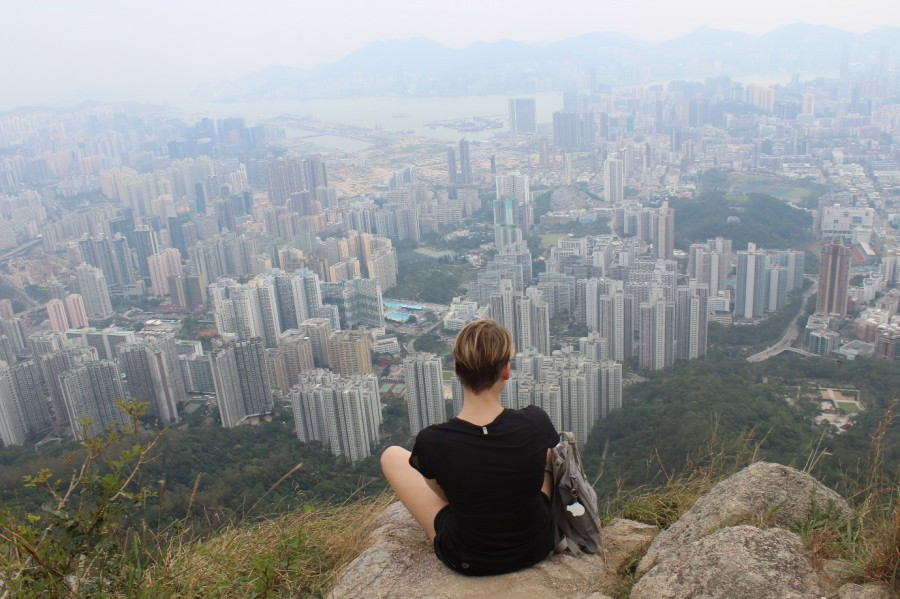 View from the highest point of the Lion Rock Trail (Hong Kong, northern Kowloon)